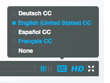 screenshot: CC button on video player