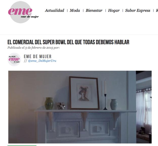 Screen shot of http://uy.emedemujer.com/actualidad/entretenimiento/el-comercial-del-super-bowl-del-que-todas-debemos-hablar/