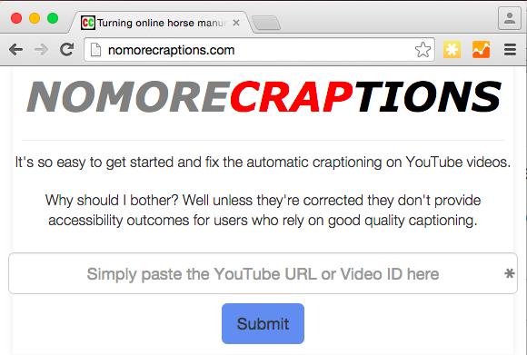 Screenshot of nomoreCRAPTIONS website.