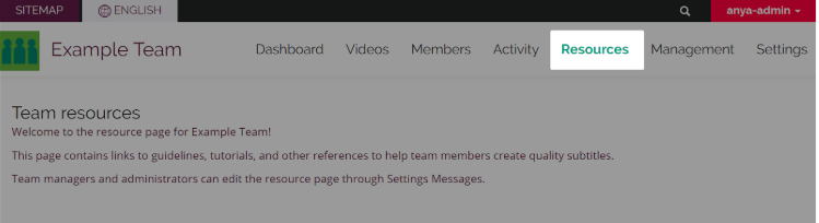 screenshot of resources tab header in Collaboration Team