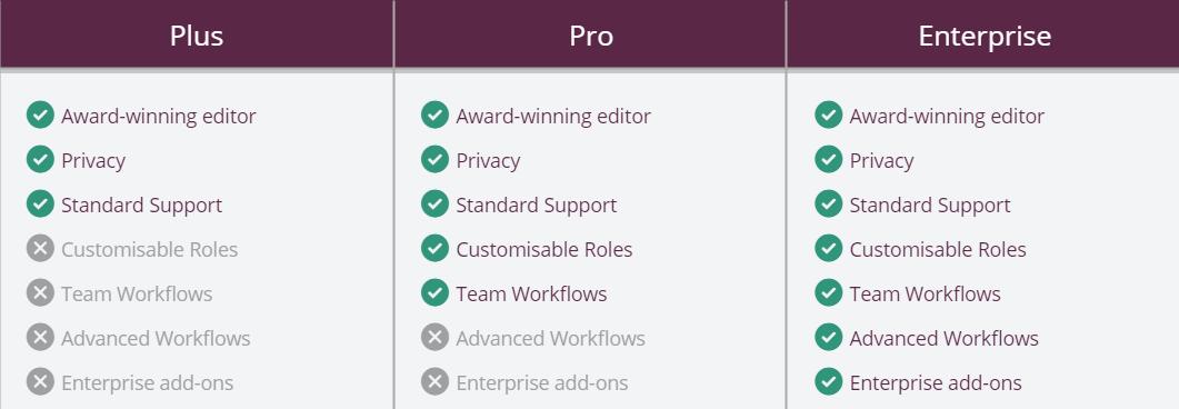Detail screenshot of subtitling solutions chart for Amara Pro, Amara Plus, and Amara Enterprise