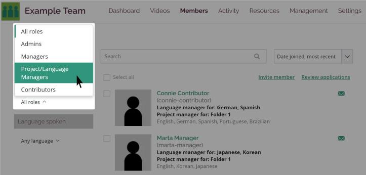 Edit user dialog box with Project/Language Manager role selected and the dropdown menus for projects and languages highlighted