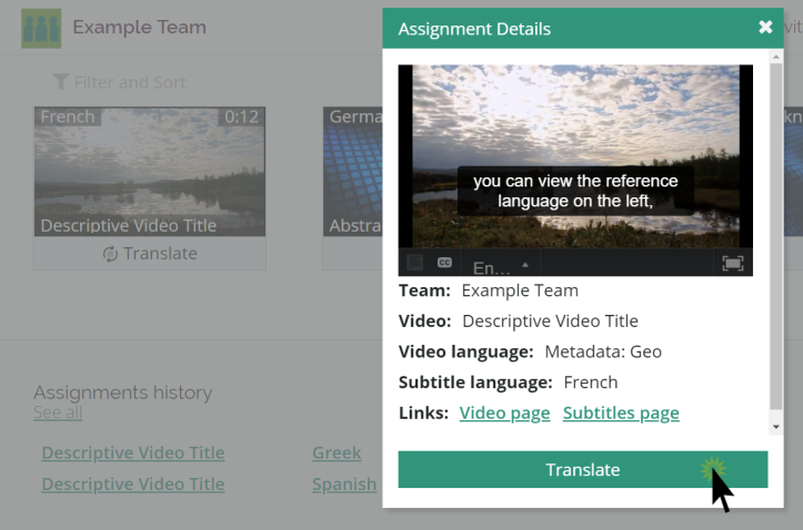 A user dashboard with the assignment details dialog highlighted