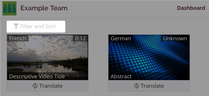 The filter and sort menu is highlighted on the dashboard of a new style team