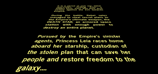 Image of original text crawl from Star Wars VI: A New Hope copyright Disney
