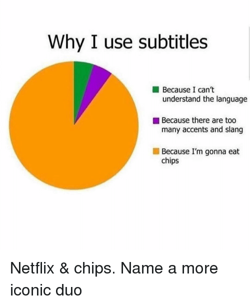 Image of pie chart with reasons to watch subtitles: because I can't understand the language, because there are too many accents and slang, and the biggest section is because i'm gonna eat chips