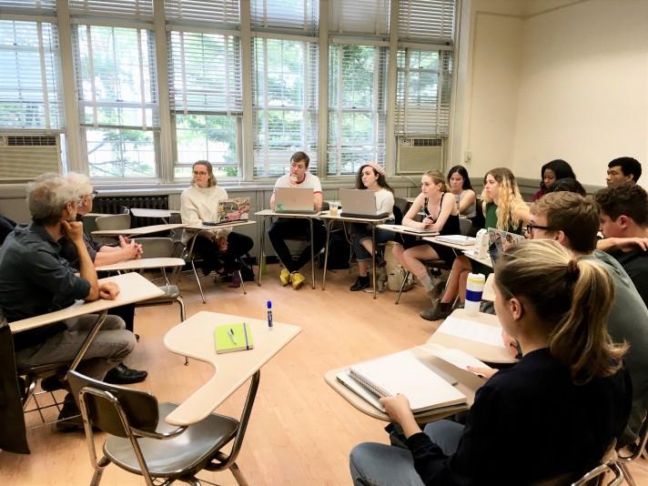 Filmmaker Marcel Trillat speaks to a class